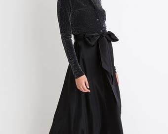 80s Black Long Bow Taffeta Skirt M