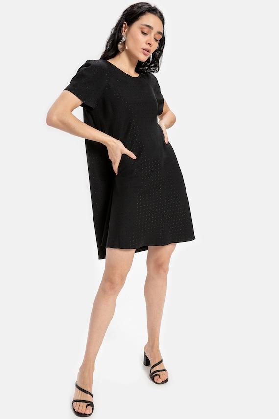 90s Black Polka Dot Swing Dress M