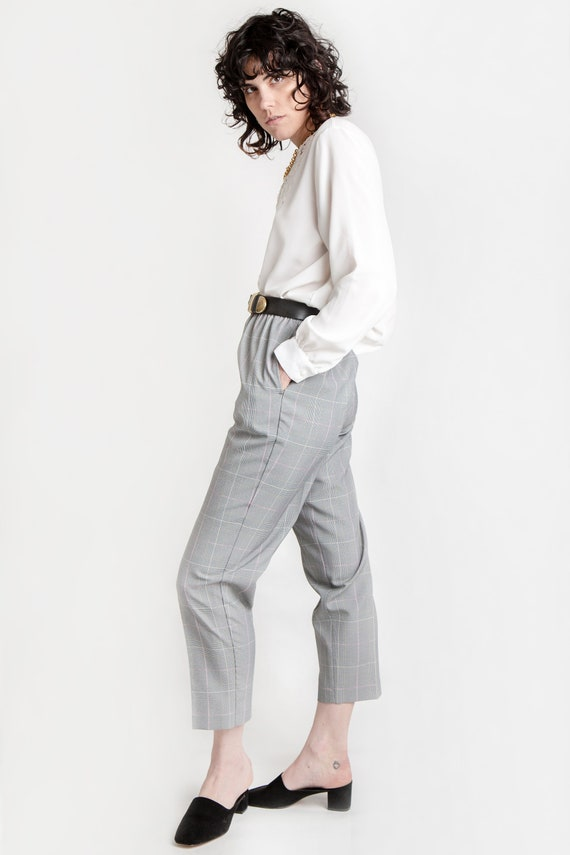 80s B&W Plaid Elastic Pants M - image 5