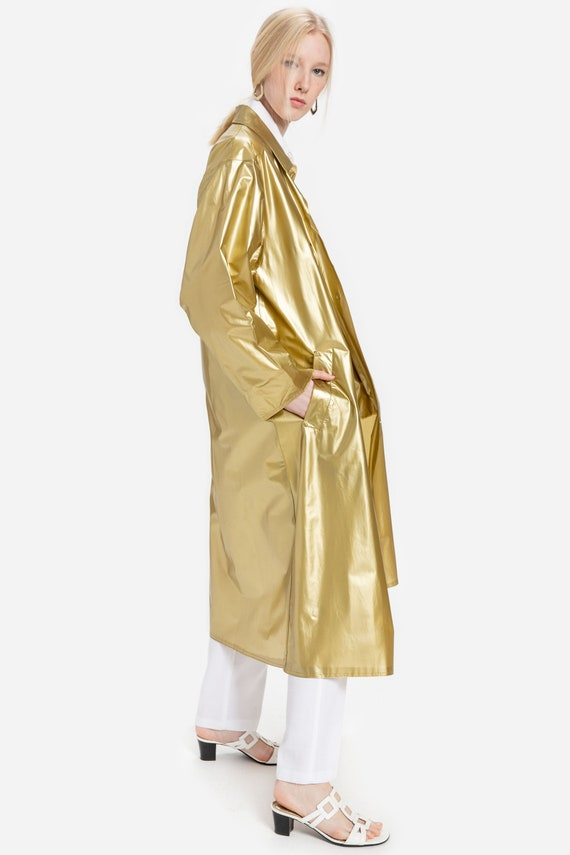 80s Gold Vinyl PVC Rain Coat S-L