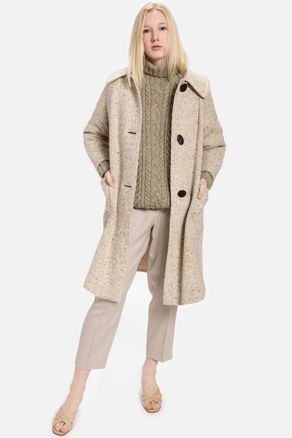 60s Cream Marled Swing Coat L
