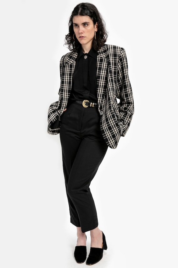 80s B&W Oversized Plaid Blazer L