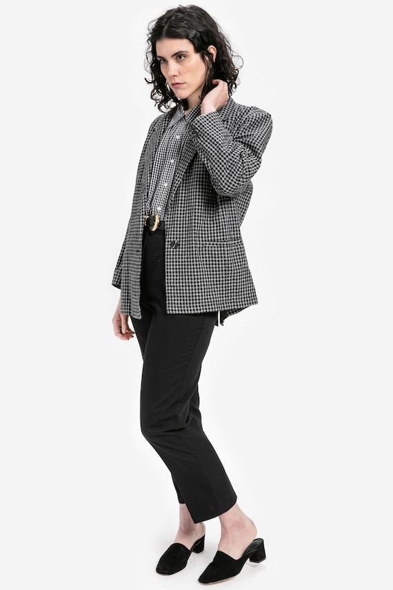 80s B&W Oversized Plaid Blazer XL