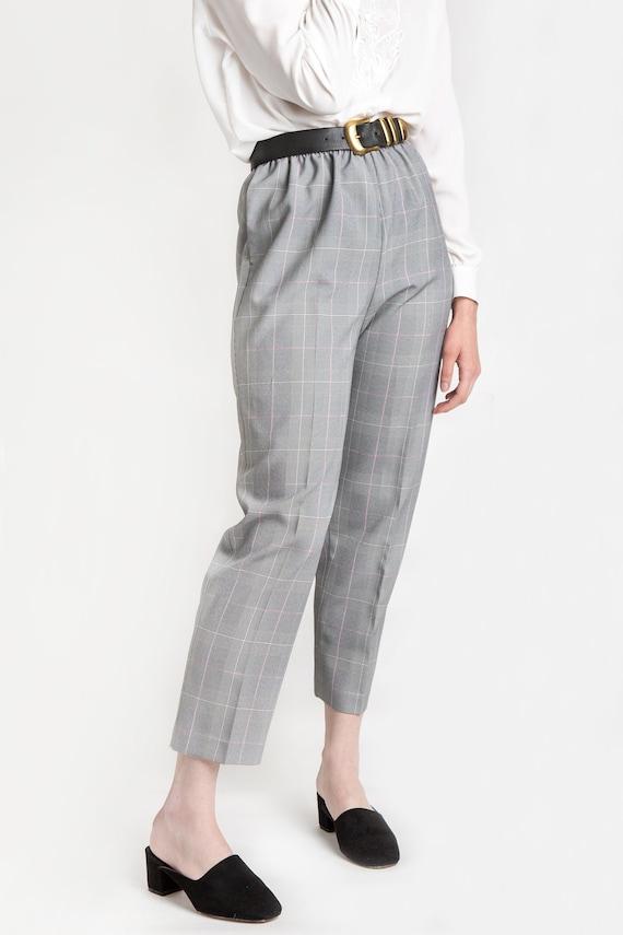 80s B&W Plaid Elastic Pants M - image 7