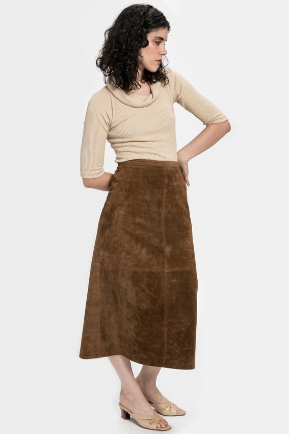 70s Brown Suede Skirt S