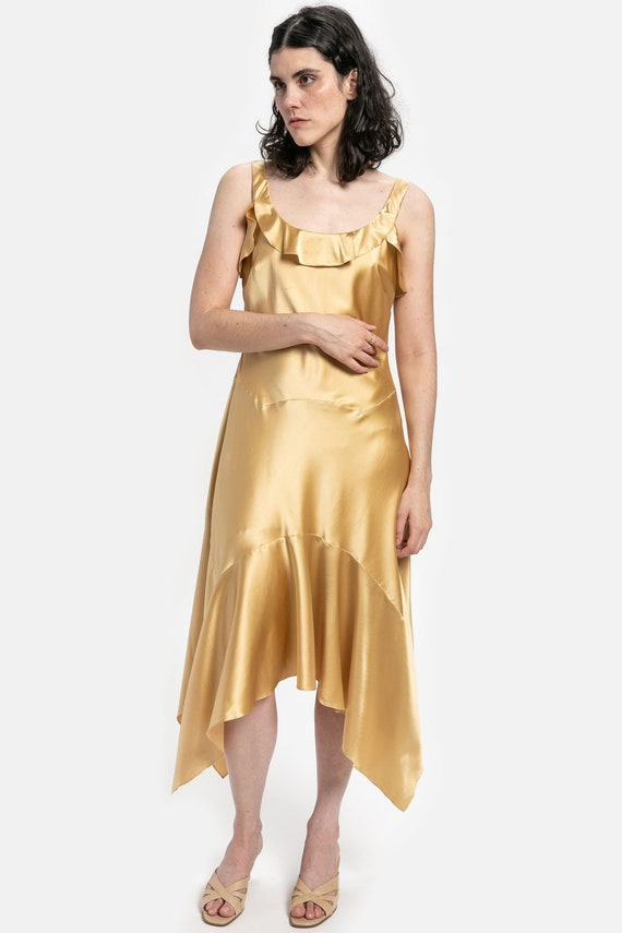 90s Gold Silk Flutter Dress M
