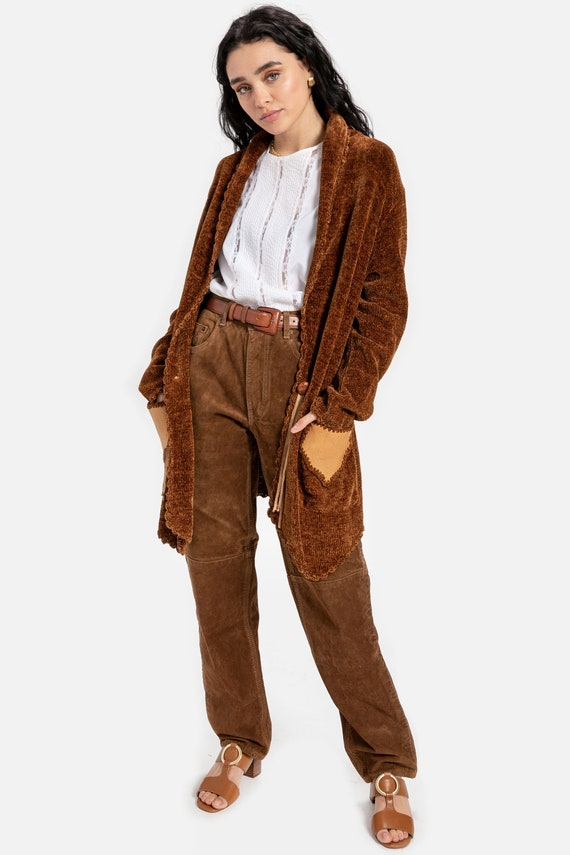 70s Chenille Leather Patchwork Cardigan L