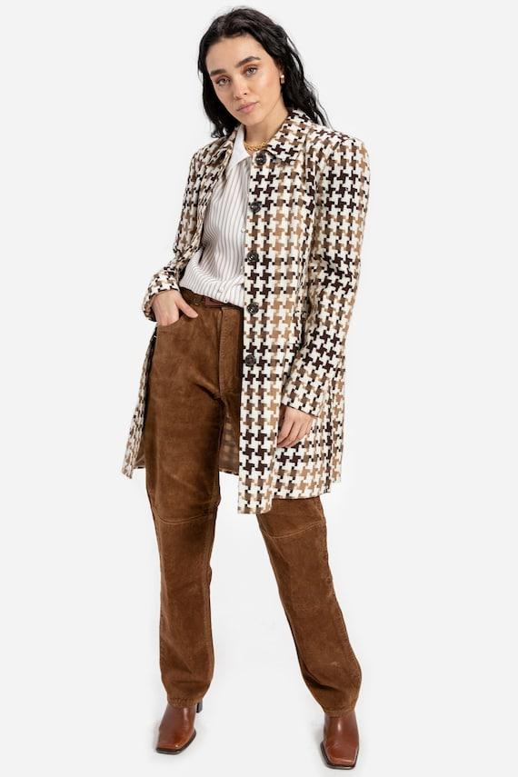 90s Brown Houndstooth Jacket M
