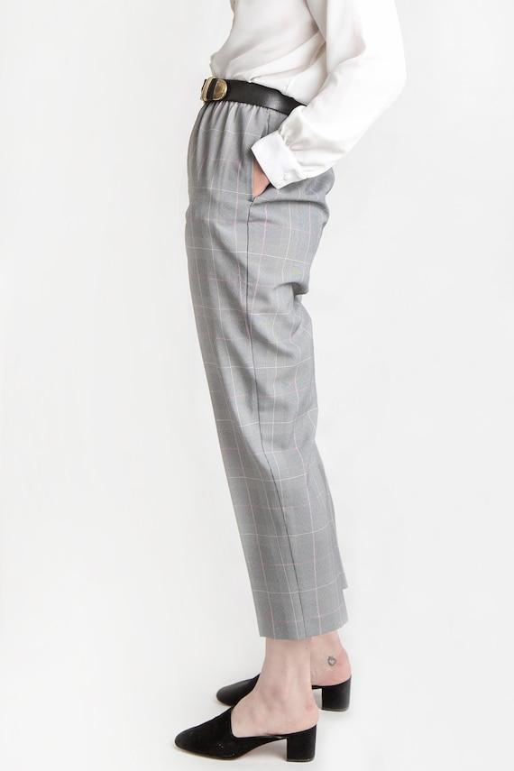 80s B&W Plaid Elastic Pants M - image 4
