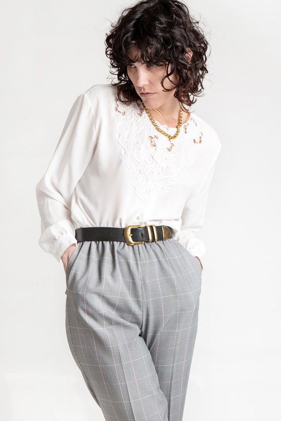80s B&W Plaid Elastic Pants M - image 2
