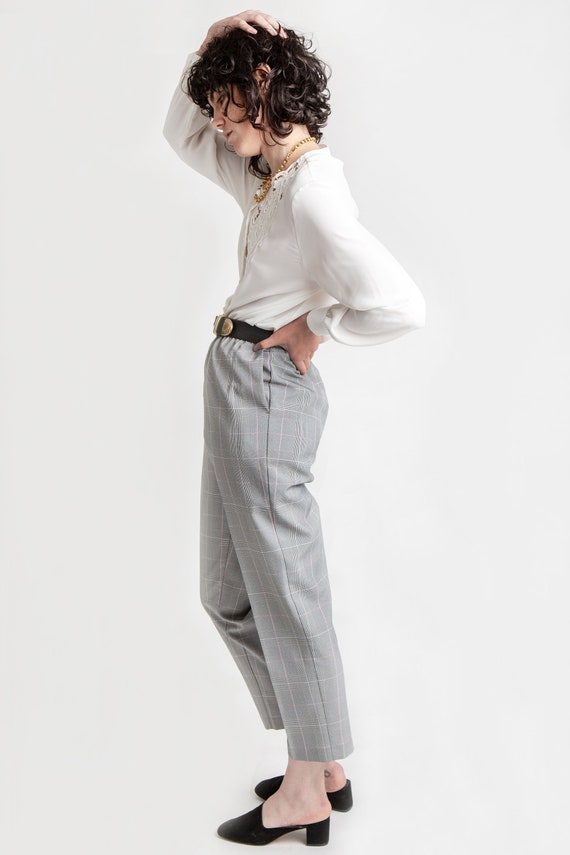 80s B&W Plaid Elastic Pants M - image 3