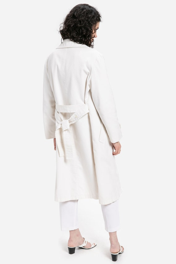 80s White Trench Coat XL
