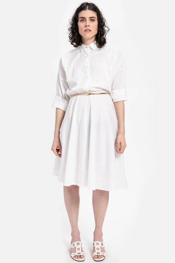 70s White Woven Shirt Dress XL