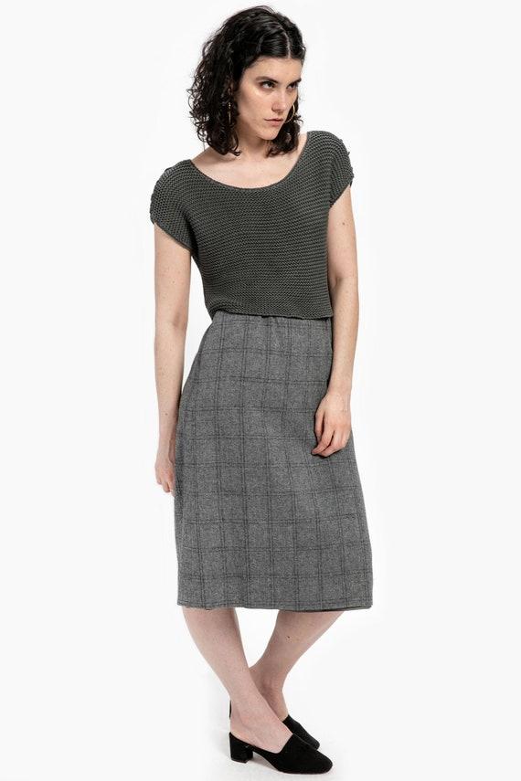 70s Grey Plaid Wool Skirt L