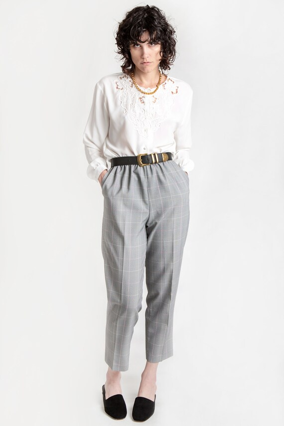 80s B&W Plaid Elastic Pants M - image 1