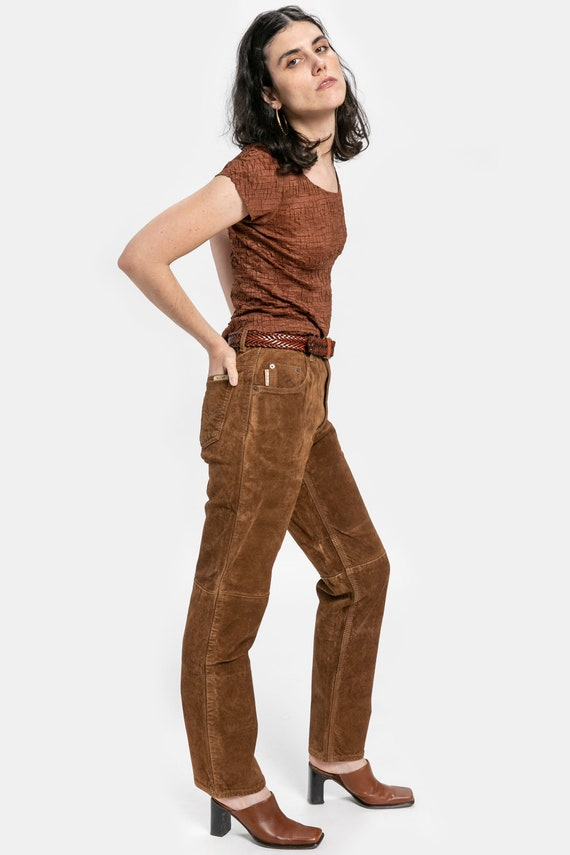 90s Brown Suede Pants M