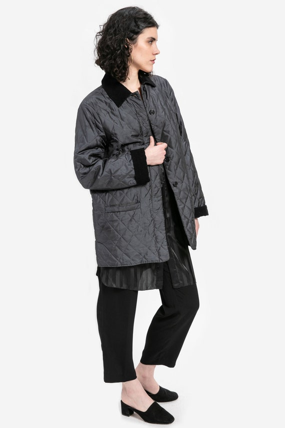 90s Black Shine Quilted Jacket L