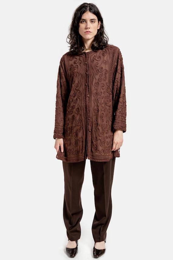 90s Brown Crochet Cardigan L