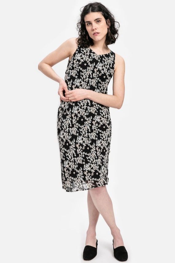 90s B&W Floral Chiffon Dress XS