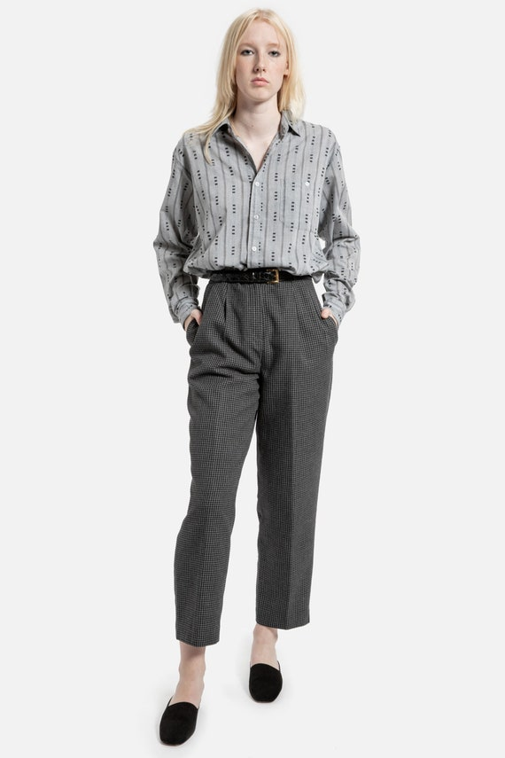 """90s Charcoal Plaid Trousers 28"""""""