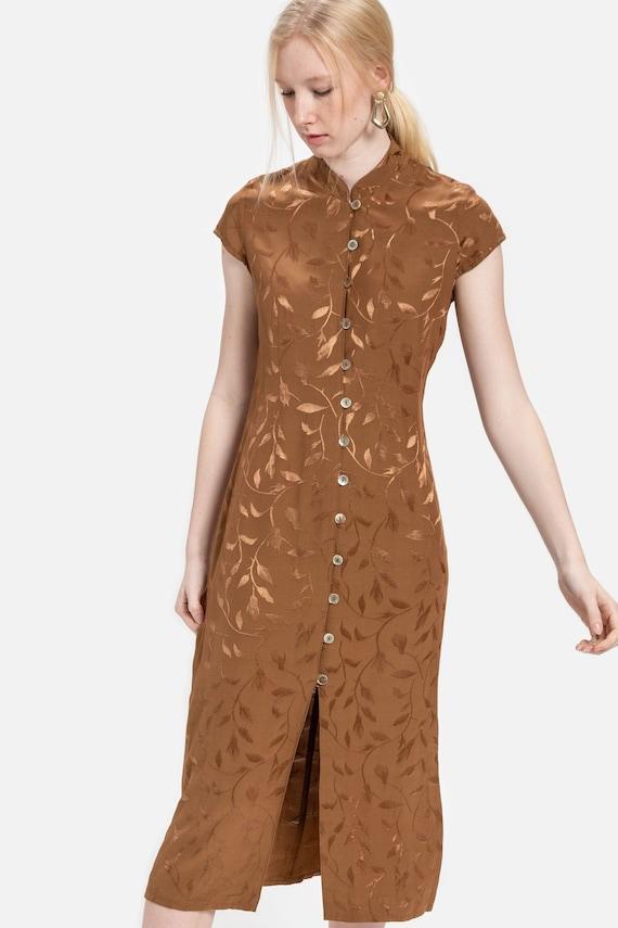 90s Tan Vine Print Dress S