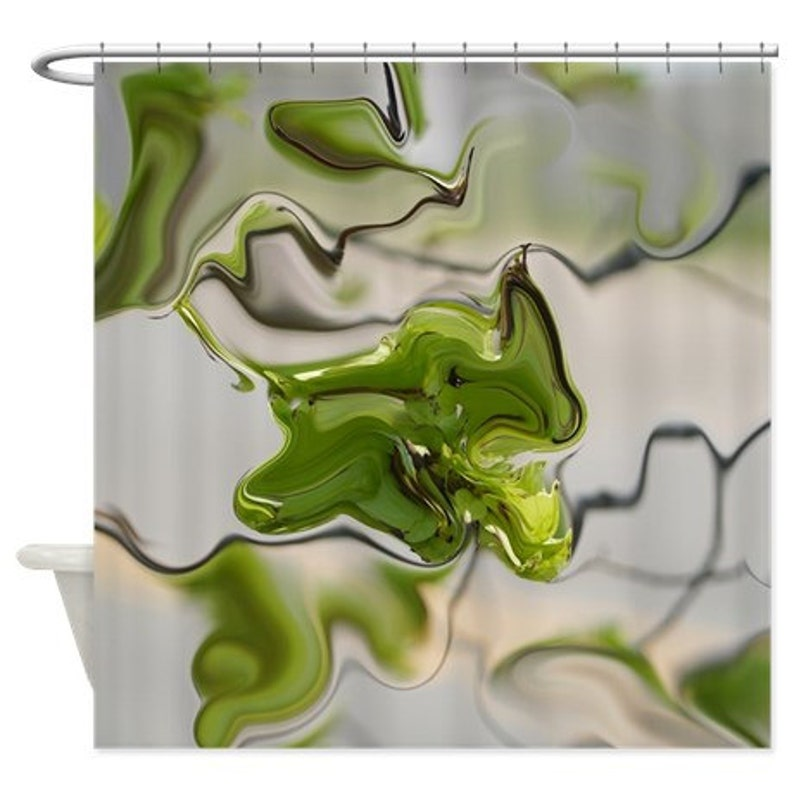 Abstract Shower Curtain Olive Green Grey