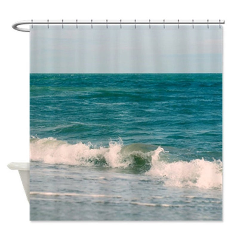 Beach Shower Curtain Turquoise Bathroom Nautical Shower Etsy