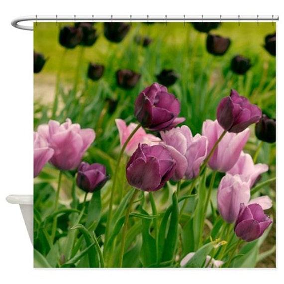 Rideau de douche floral, rose violet vert salle de bain, la nature, tulipes  fleur photo douche Rideau, rideau de douche tissu, art, botanique