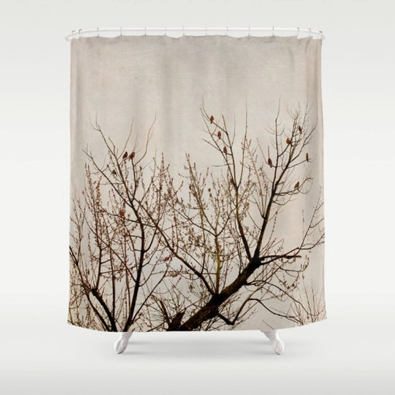 Tree Shower Curtain Brown Beige Branch