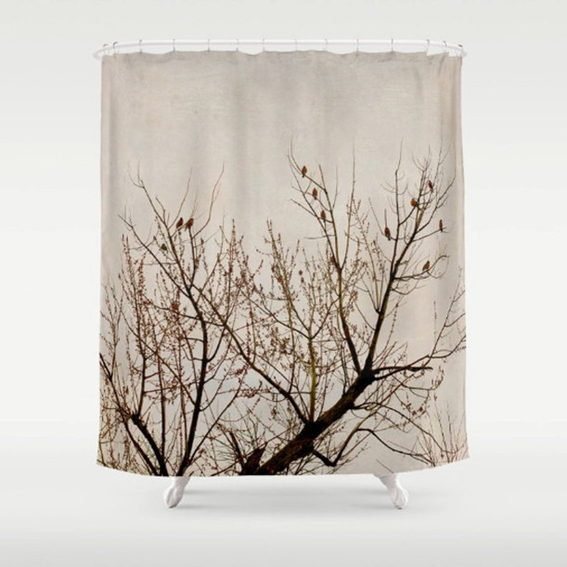Tree Shower Curtain Brown Beige Branch Red Birds Art Bathroom Decor Fabric