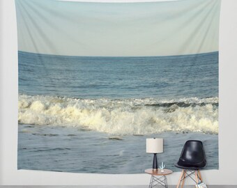 Wave wall tapestry, ocean tapestry, photo tapestry wall hanging, blue tapestry, boho tapestry, modern tapesty large wall art beach tapestry