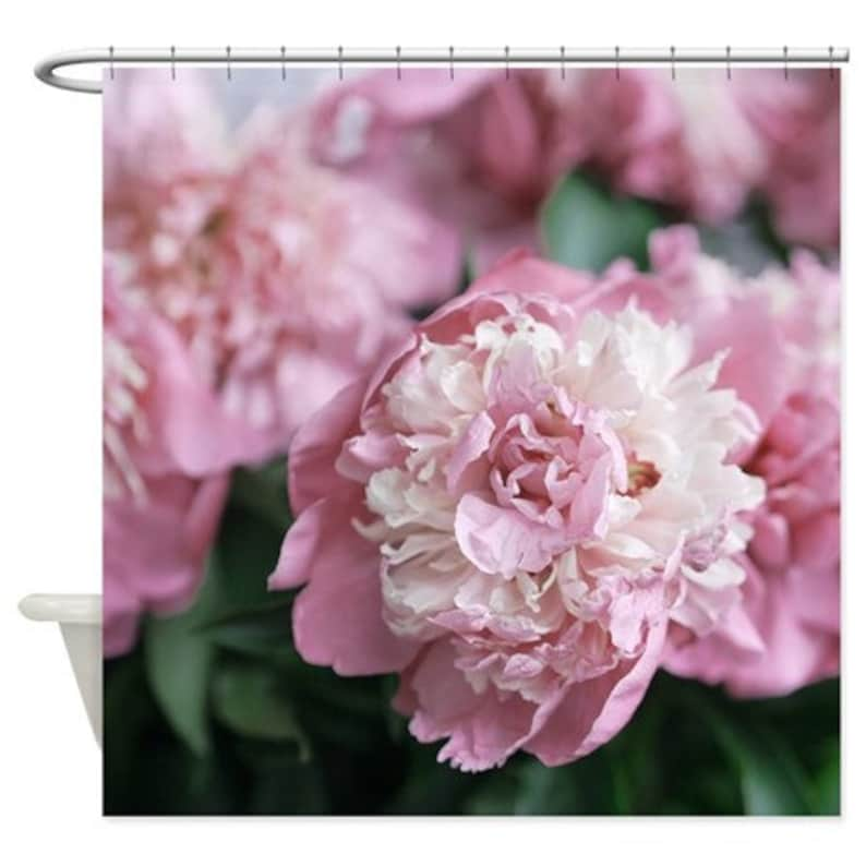 Floral Shower Curtain Pink Peony Flower Photo