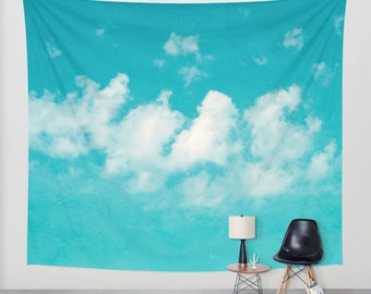 Cloud tapestry - sky tapestry, nature wall hanging, extra large wall art, boho tapestry, photo tapestry, modern aqua blue white decor, mint