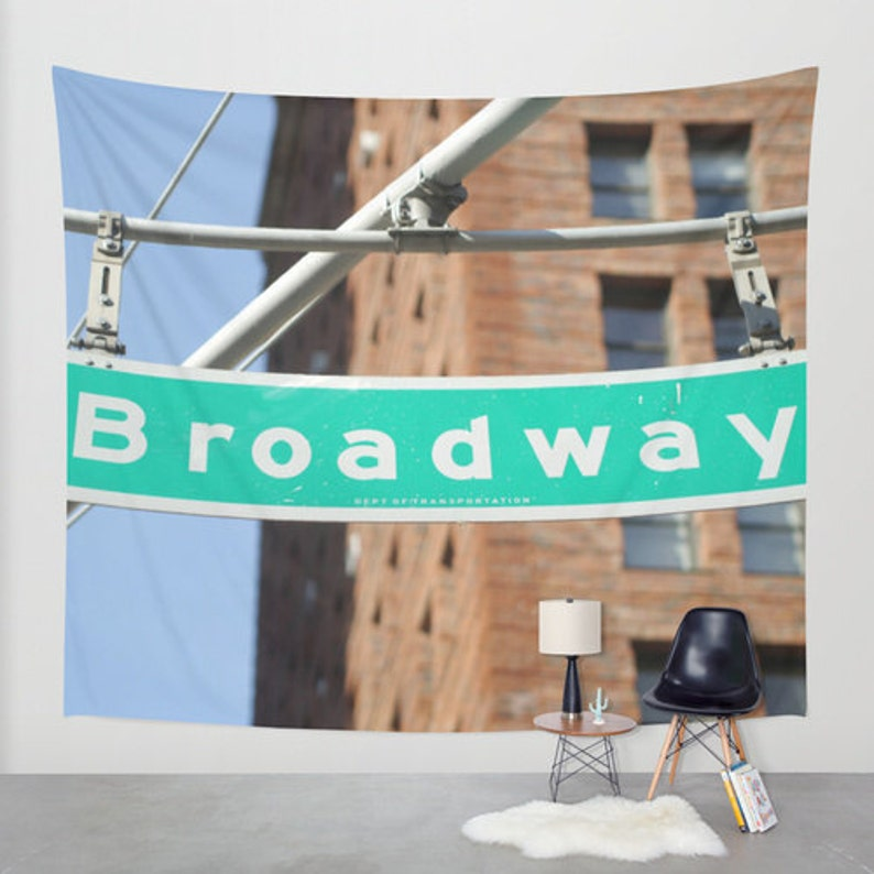 New York City Tapestry Broadway Street Sign Wall Hanging Etsy