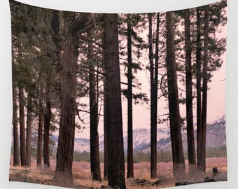 Tree wall tapestry, woods nature tapestry wall hanging decor, extra large home decor, boho tapestry, dorm room art, mountain scenic tapestry