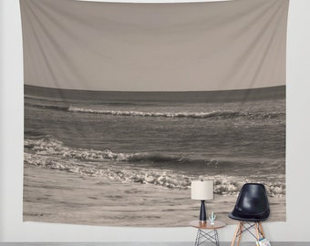 Sepia tapestry, ocean beach tapestry, boho tapestry wall hanging, extra large wall decor, brown tapestry modern, dorm, nautical home decor
