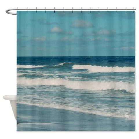 Ocean Shower Curtain Nautical Waves Beach Teal Blue Aqua Bathroom Decor Coastal Fabric