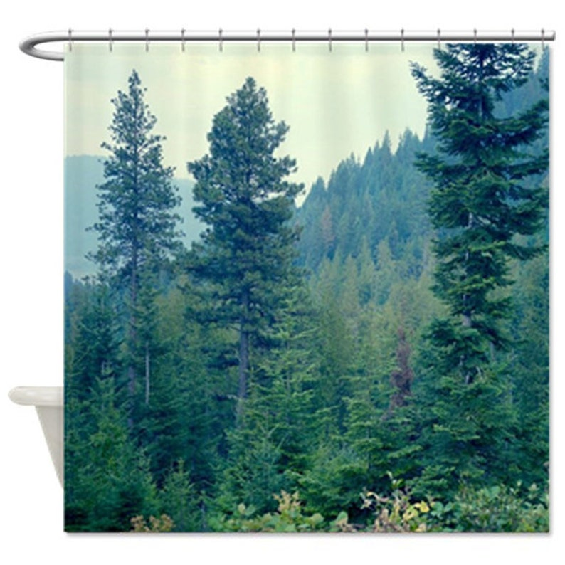Forest Shower Curtain Pine Tree Green Bath