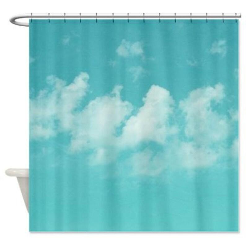 Dusche Vorhang Kunst-Duschvorhang Aqua blau Himmel Dusche | Etsy