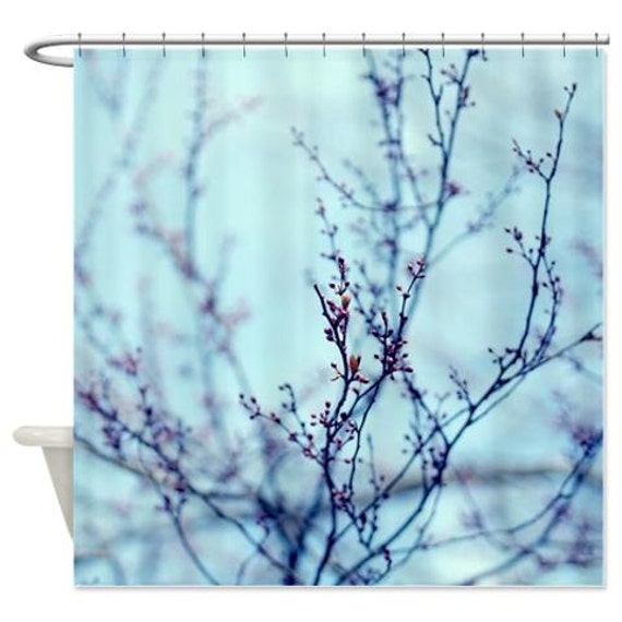 Blue Shower Curtain Tree Branch Photo Aqua Lavender Purple Art Bath Decor Nature Fabric