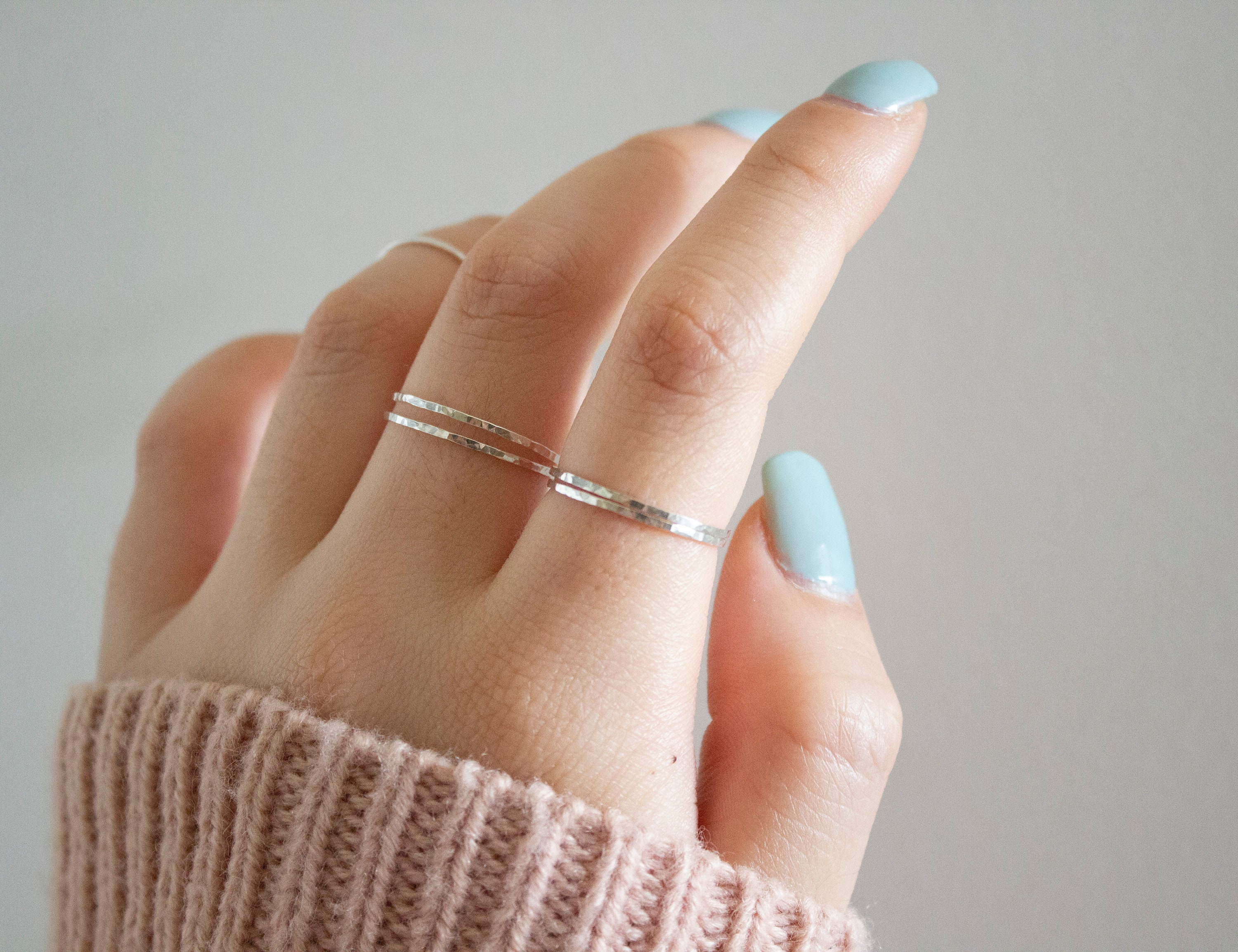 Dainty Ring Chainring Ring Gift Ring for Women Midi Ring Minimalist Ring Statement Ring Loop Ring Knuckle Ring Sterling Silver Ring