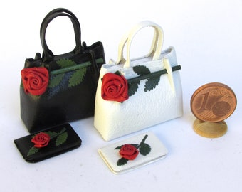 romantic leather purse decorated with a rose, combined with wallets, handmade, 1/12 scale