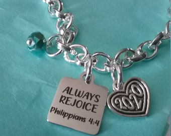 5 Silver Tone Rejoice Charms Engraved Bracelet Tags MC0886 Inspirational Charms in Antique Silver Tone