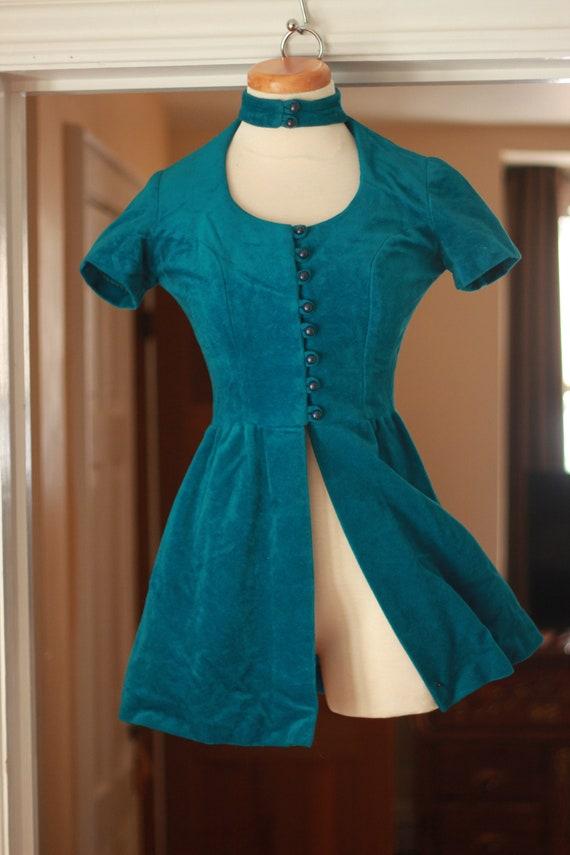 Amazing 1970s handmade turquoise velvet waistcoat