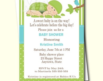 Turtle Baby Shower Turtle Invitation Turtle Book Request Etsy