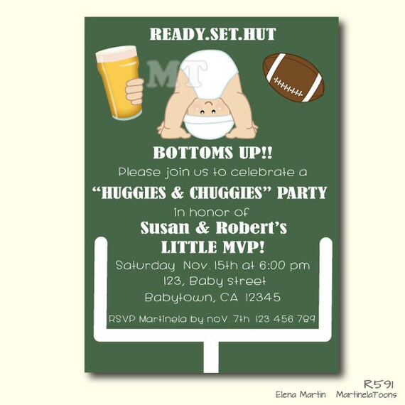 Huggies And Chuggies Baby Shower Invitation Dad Diaper Party