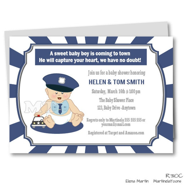 Diy police baby shower invitation baby police outfit blue etsy image 0 filmwisefo