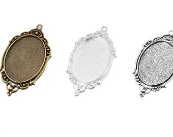 5pcs 30x40mm setting size vintage alloy antiqued silver,bronze,silver oval pendant bezels tray 1421089