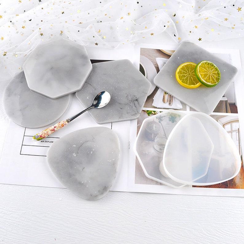 Coaster Silicone Mold RoundSquareHexagonOctagonTriangle Coaster Resin Mold-Table Coffee Tray Mould-Crafts Mold