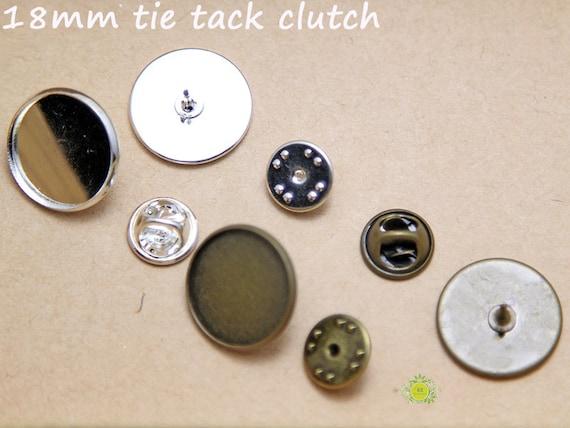 10Pcs 20MM Round Shallow Bezel Brooch Blank Base Collar Clip Brooch Findings